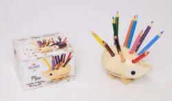 ježek mini dřevěný s pastelkami natur